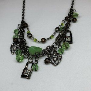 Jewelry - Multistrand Antique Silver Collar with Lime Green